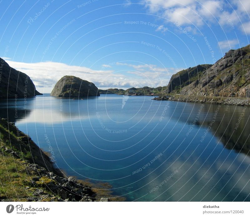 Nature Water Sky Sun Blue Vacation & Travel Calm Clouds Loneliness Far-off places Relaxation Mountain Lake Norway Fjord