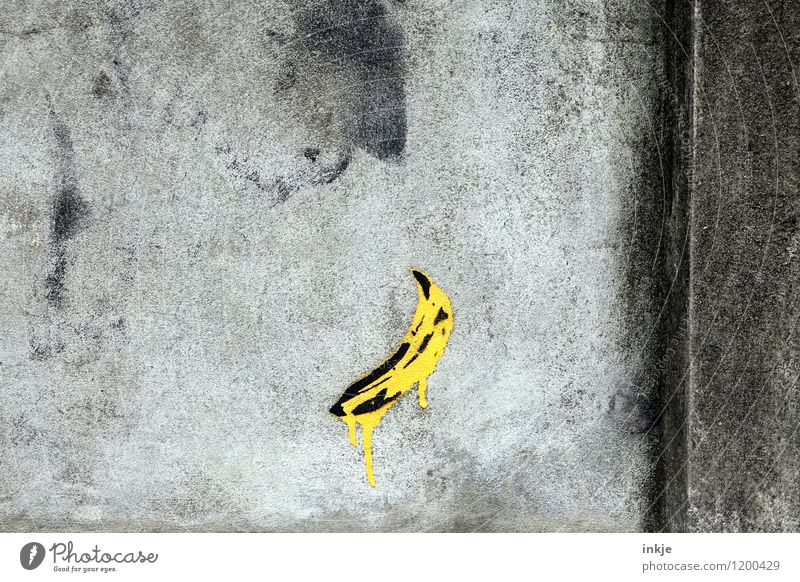 City Yellow Wall (building) Graffiti Wall (barrier) Gray Lifestyle Art Facade Creativity Concrete Sign Drop Work of art Daub Banana