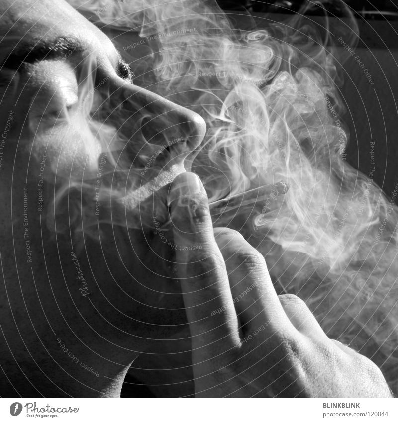jonny Smoking Joint Man Black Gray White Hand Fingers Fingernail Smoky Silhouette Portrait photograph Eyebrow Chin Facial hair Relaxation Leisure and hobbies