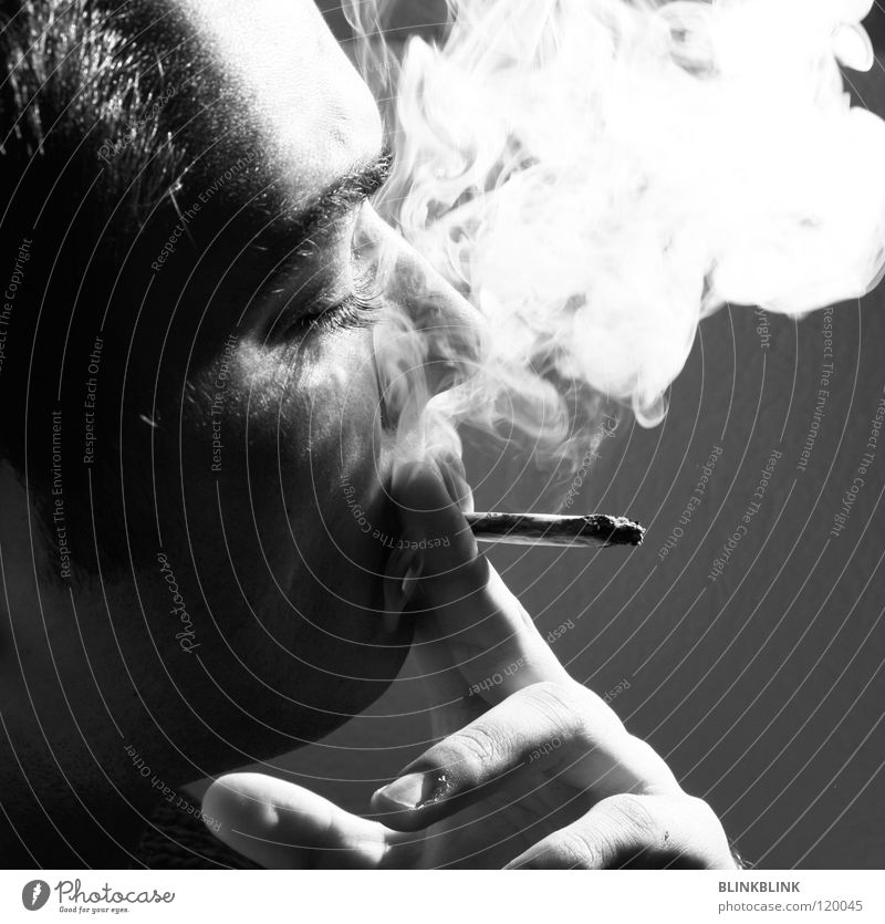 Jonny II Smoking Joint Man Black Gray White Hand Fingers Fingernail Smoky Silhouette Portrait photograph Eyebrow Chin Facial hair Sun Relaxation