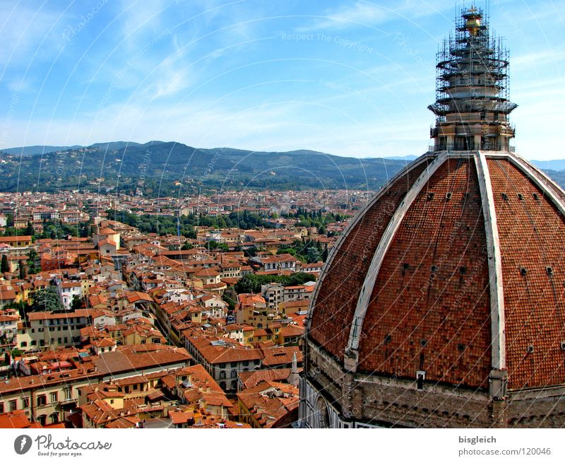 Florence (Italy) Colour photo Deserted Copy Space top Bird's-eye view Panorama (View) Sky Europe Town Downtown Church Dome Historic Religion and faith Tuscany