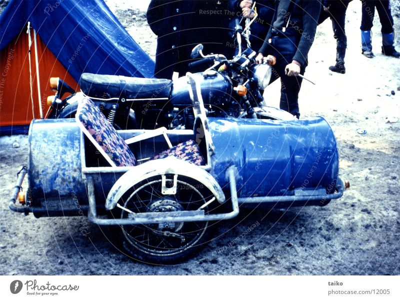 Motorcycle with sidecar Sidecar Strange Garden chair Winter Elefantentreffen Handicraft enthusiast Mechanic Red Electrical equipment Technology Horse and cart