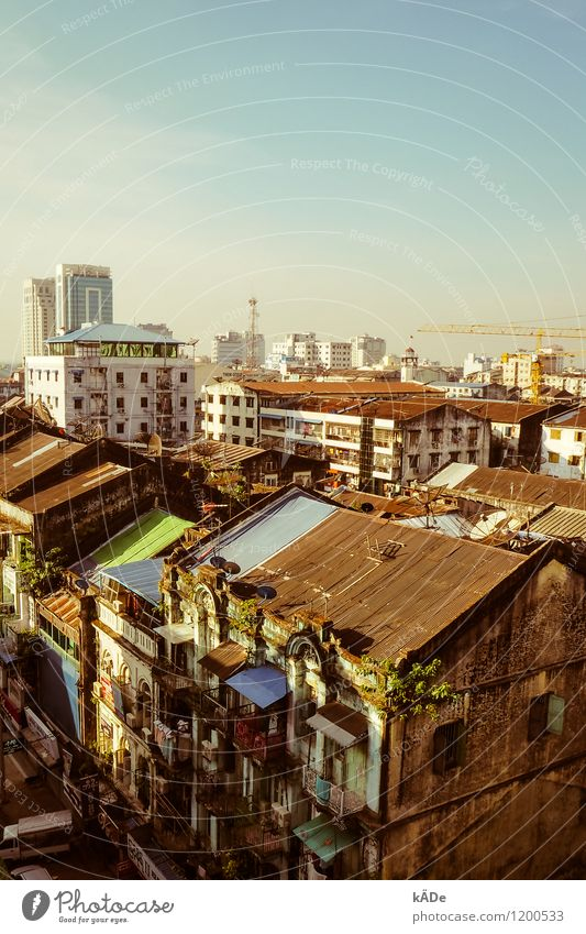 Yangon Architecture Beautiful weather Rangoon Myanmar Asia Town Downtown Skyline House (Residential Structure) High-rise Manmade structures Building