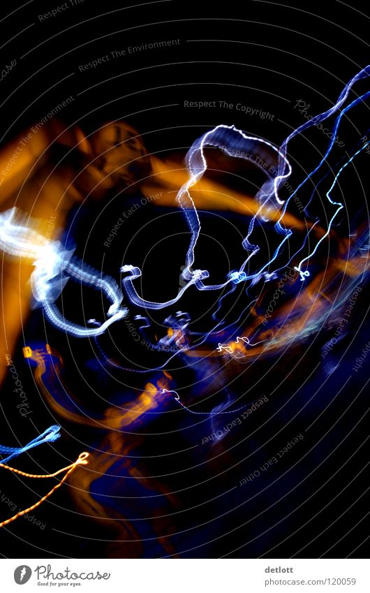 light traces Long exposure Tracer path Abstract Focal distance Black Multicoloured Soul Concentrate Colour Contrast ink ribbon Reflection psychedelic