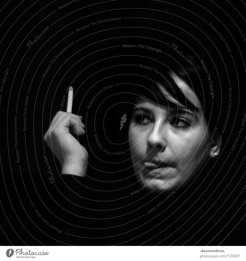 Tribeka Woman Hand Fingers Nail Cigarette Posture Eyebrow Concentrate Thought Looking Eye-catcher Black White Light Black & white photo Face Human being Mouth