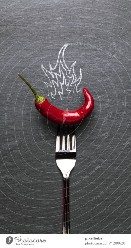 Red hot chilli pepper Food Vegetable Herbs and spices Nutrition Vegetarian diet Diet Finger food Italian Food Cutlery Fork Healthy Healthy Eating Kitchen