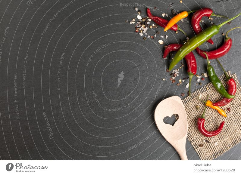 Cooking Background Healthy Healthy Eating Kitchen Restaurant Gastronomy Exotic Wooden spoon Stone Brick Black Chili Salt Herbs and spices Love Heart