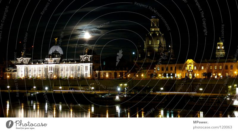 Water Clouds Dark Lighting Historic River Illuminate Capital city Old town Dresden Terrace Moon Night sky Elbe Promenade House of worship