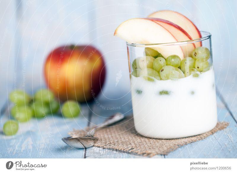 Yoghurt with fruit Food Dairy Products Fruit Apple Dessert Nutrition Breakfast Vegetarian diet Diet Bowl Glass Cutlery Spoon Lifestyle Healthy Healthy Eating