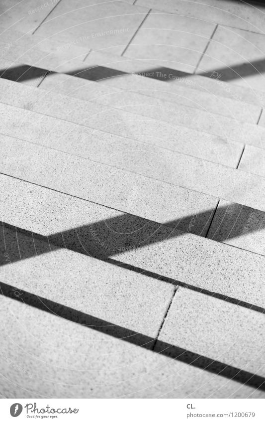 levels Stairs Line Stone Sharp-edged Lanes & trails Downward Black & white photo Exterior shot Abstract Deserted Day Light Shadow