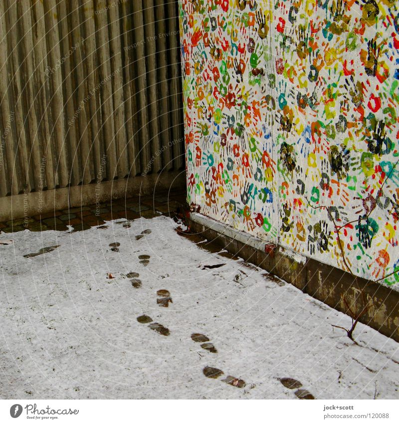 hand and footprint Hand Snow door Animal tracks Concrete Footprint Moody Secrecy Creativity Lanes & trails Side by side Corner Imprint Play of colours Sequence
