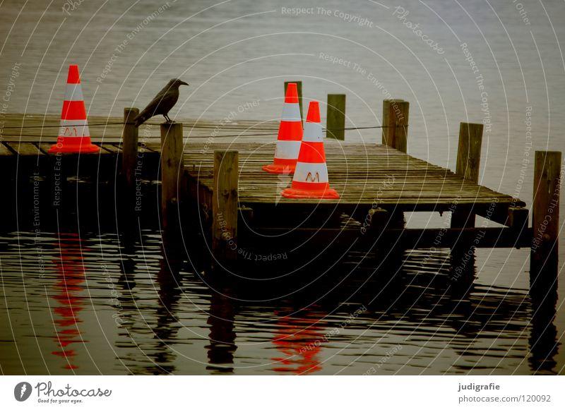 Calm Loneliness Colour Lamp Dark Gray Lake 3 Gloomy Harbour 4 Stripe Obscure Footbridge Jetty Barrier