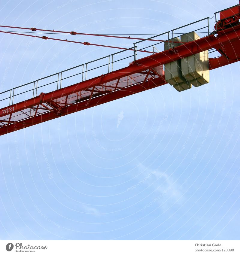 Sky Blue Red Clouds Gray Stone Wall (barrier) Work and employment Concrete Tall Rope High-rise Construction site Logistics Steel Truck