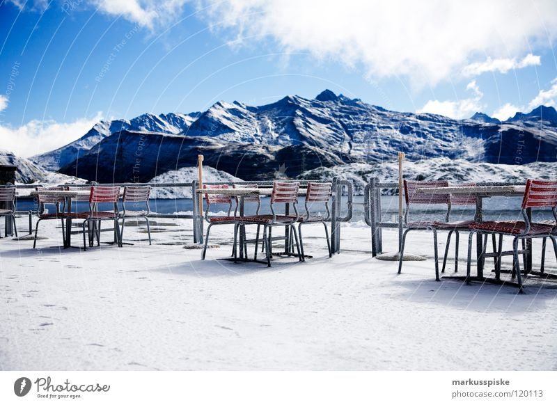 ice Switzerland Canton Bern Grimsel pass Lake Frozen Restaurant Resting place Clouds High plain Leisure and hobbies Vacation & Travel Mountain grim Ice Alps
