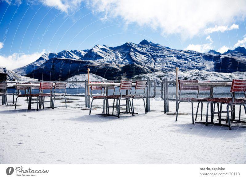 Winter Vacation & Travel Clouds Snow Mountain Lake Landscape Ice Weather Vantage point Leisure and hobbies Switzerland Alps Restaurant Frozen