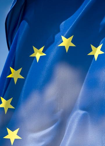 Greek nightmare Sign Euro symbol Flag Blue Yellow Gastronomy Economical Society Group Europe European flag European Parliament European Central Bank Wrinkle