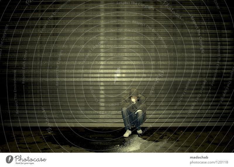 Human being Man Loneliness Calm Dark Graffiti Wall (building) Sadness Lamp Art Lighting Sit Dirty Stand Illuminate Circle