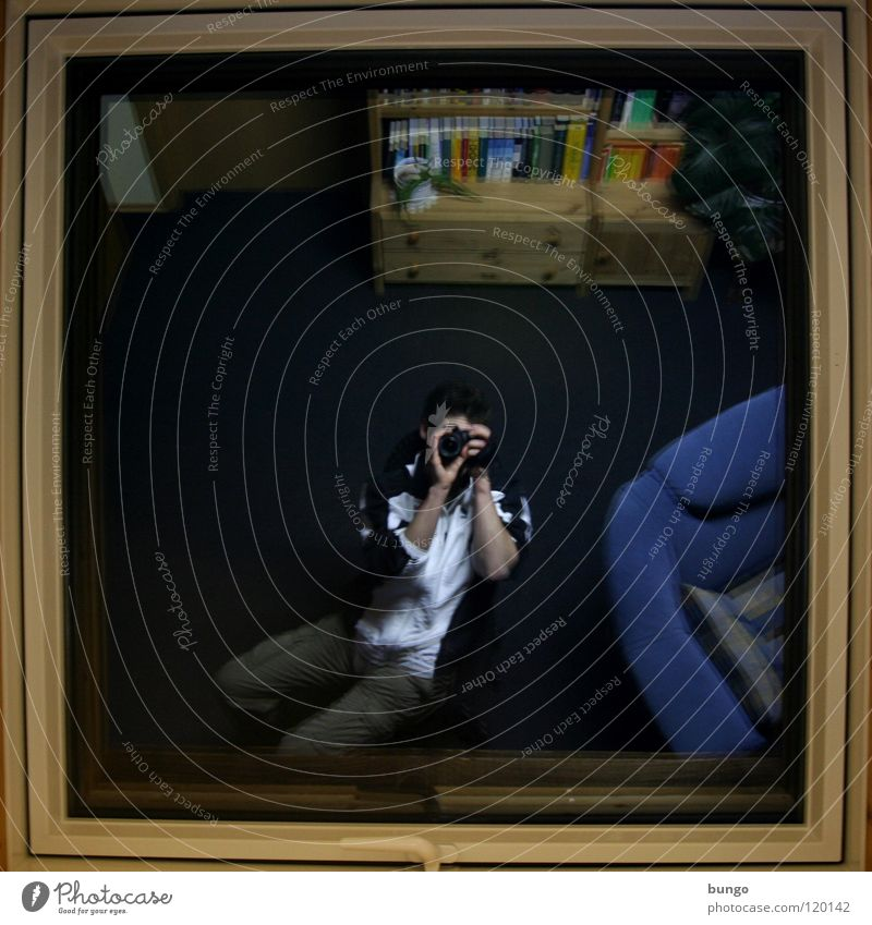paparazzi Window Reflection Window frame Take a photo Mirror Room Furniture Cupboard Photographer Self portrait Man Living room Frame Sit Living or residing