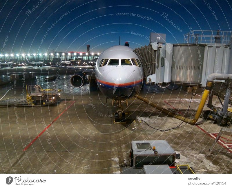 Waiting Airplane Winter Aviation Frontal Still Life Airport Electrical equipment Technology Morning
