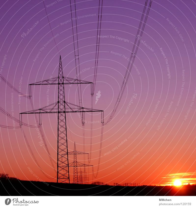Voltage in square Electricity Electricity pylon Sunset Power Interlaced High voltage power line Horizon Violet Red Low point Celestial bodies and the universe