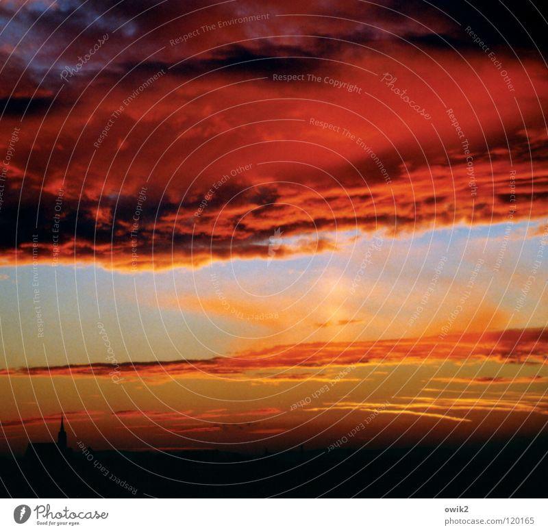 Sky Red Sun Clouds Religion and faith Germany Transience Kitsch Monument Landmark Prayer Dusk God Dome Copy Space East