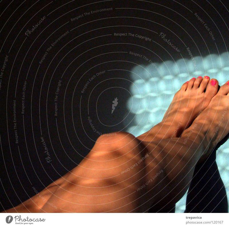 Woman Water Sun Blue Black Feminine Naked Feet Legs Skin Pink Toes Barefoot Nail polish Varnished Cosmetics