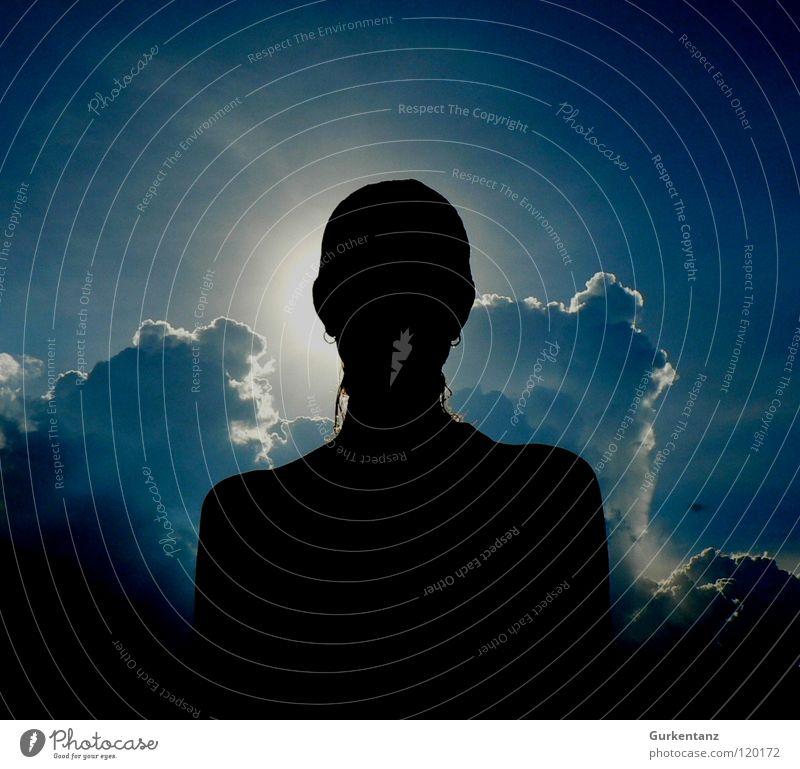 Lady Selva Woman Clouds Back-light Violet plants Blue tone Sky Beautiful Sun Shadow Silhouette head. angel earrings