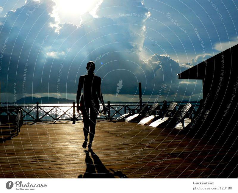 Woman Beautiful Sky Sun Ocean Beach Vacation & Travel Clouds Wood Watercraft Coast Lie Malaya Bikini Footbridge Wooden board