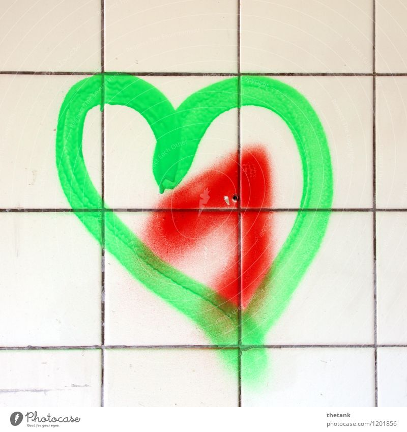 Love on the side of the tile Joy Decoration Bathroom Art Wall (barrier) Wall (building) Graffiti Heart Together Happy Bright Green Red Emotions Spring fever
