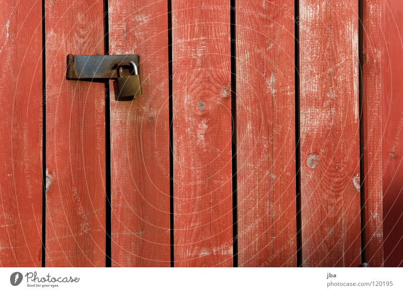 you don't come by Closed Mysterious Dangerous Bans Red Iron Wood Wooden board Generator Detail Castle Threat Structures and shapes black lines Door Gate