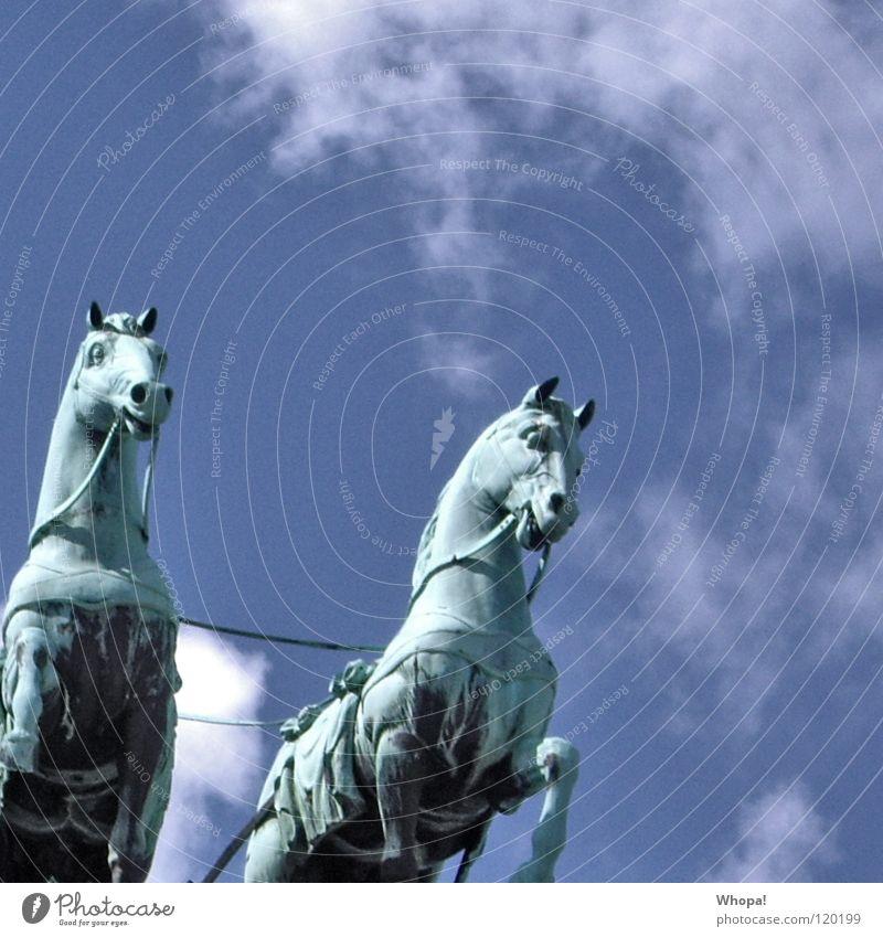 Right Brandenburg Gate Horse Clouds White Historic Germany Berlin Sky Blue