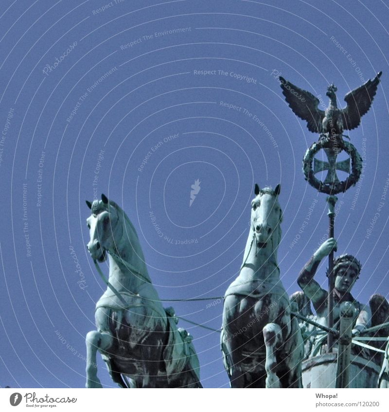 Sky White Blue Clouds Berlin Germany Horse Historic Brandenburg Gate