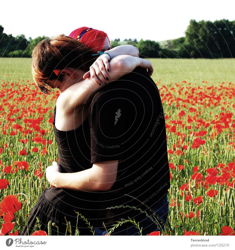 and that's how we stood. Relationship Calm Caresses Safety (feeling of) Protective Infinity Near To hold on Promise Dress Clothing T-shirt Field Poppy Flower