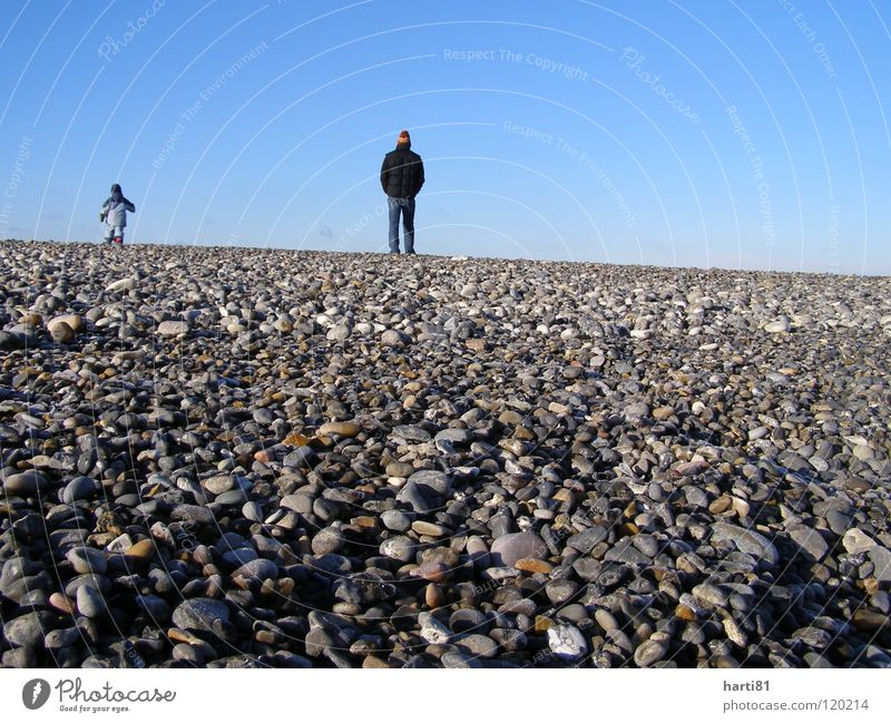 Father and son Beach Winter Vacation & Travel Trust Denmark Stone Calm Blue