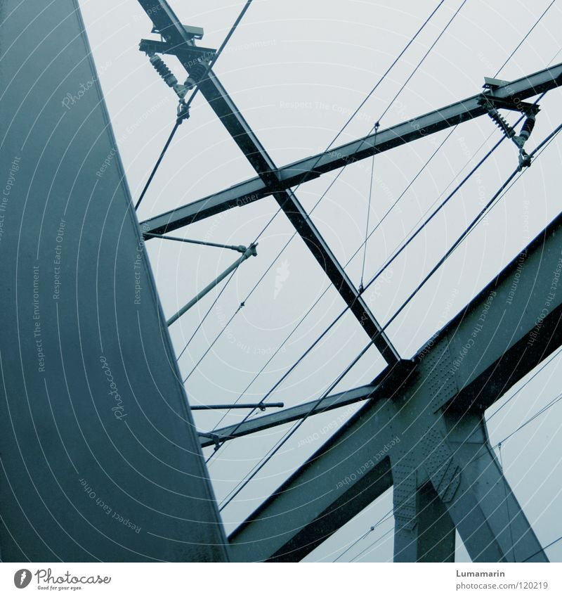 Sky Dark Gray Rain Line Metal Transport Bridge Electricity Gloomy Cable Connection Steel Manmade structures Weight Geometry