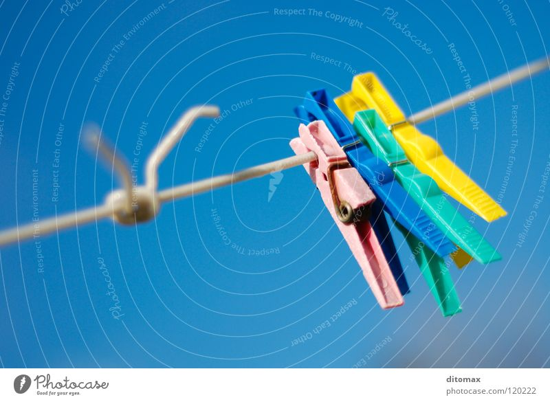 No Laundry Sky Yellow Household Colour Obscure colorful abstract blue clip clothespin laundry line red knot