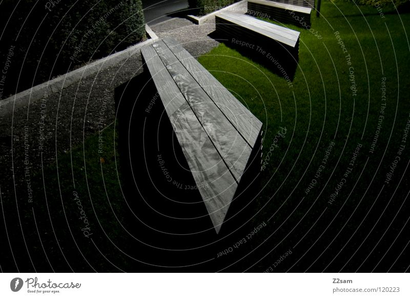 seating Seating Night Dark Long exposure Park Green Meadow Wood Wooden bench Entrance Gravel Relaxation Break Graphic Simple Perspective Sharp-edged Corner