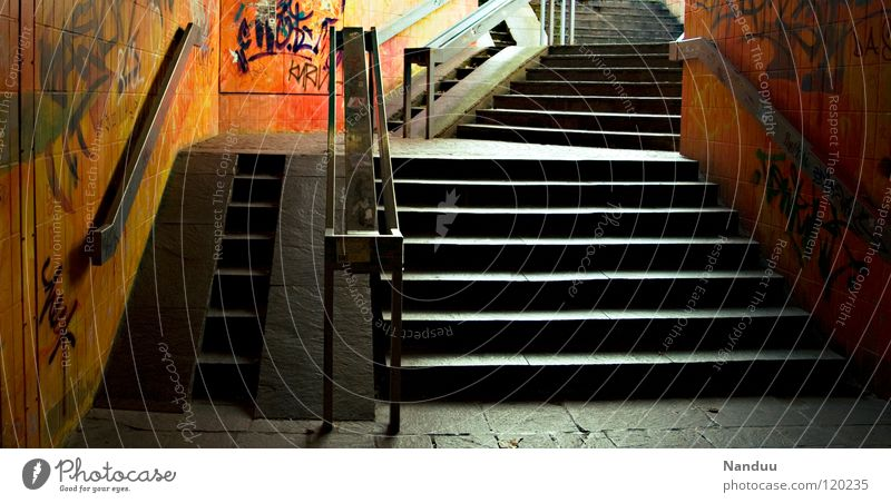 City Loneliness Graffiti Art Orange Stairs End Painting (action, work) Under Handrail Tunnel Entrance Living room Way out Street art Territory