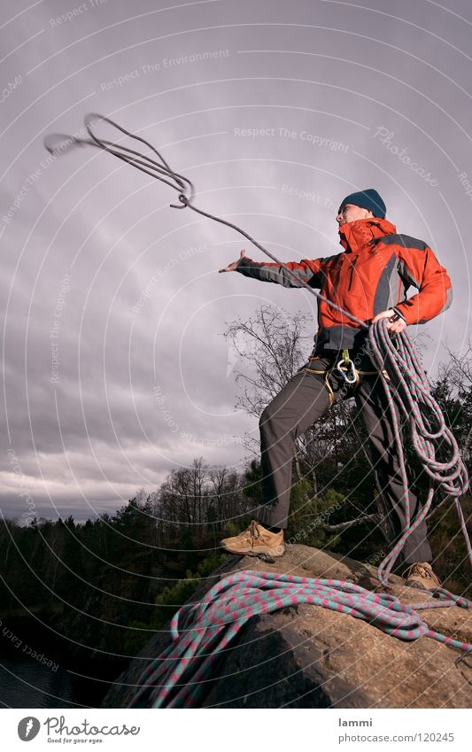 Clouds Loneliness Sports Cold Playing Freedom Masculine Rope Rock Safety Adventure Climbing Gale Hero Throw