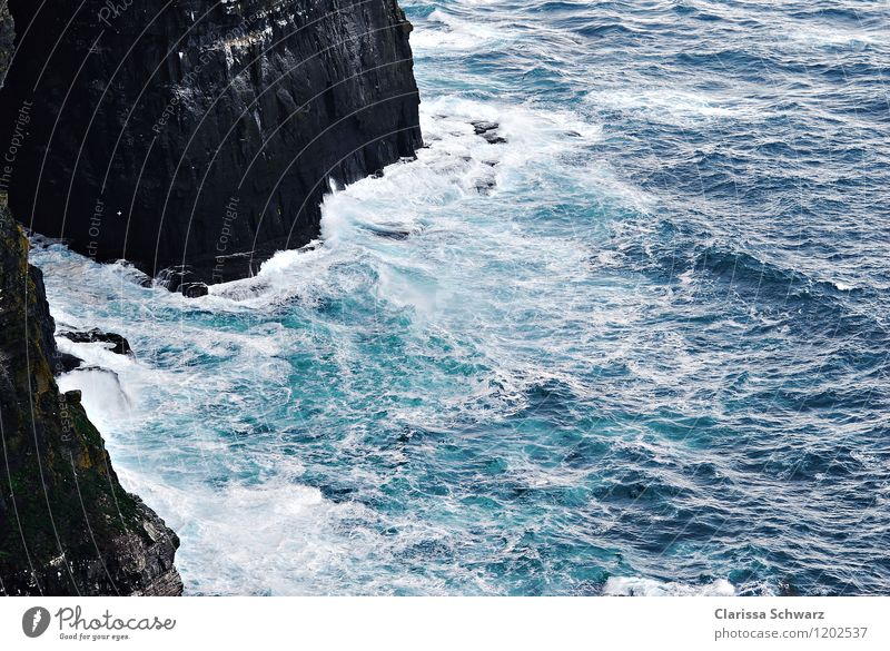 steep cliffs, cliffs Wind Gale Waves Coast Bay Ocean Adventure Energy Freedom Time Ireland Aran Islands Cliffs of Moher Stone Water Swell Colour photo