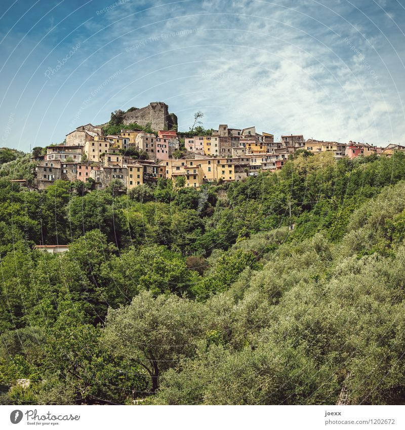 mountain village Sky Clouds Beautiful weather Mountain Trebiano Village House (Residential Structure) Castle Ruin Facade Old Tall Multicoloured Idyll