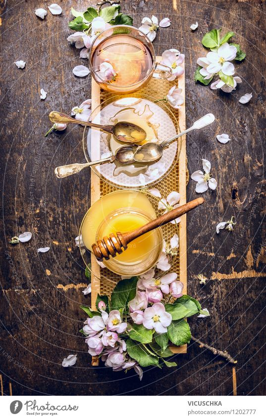 Tea with fresh honey and combs on a rustic wooden table Food Candy Nutrition Beverage Crockery Plate Cup Glass Spoon Design Alternative medicine Healthy Eating