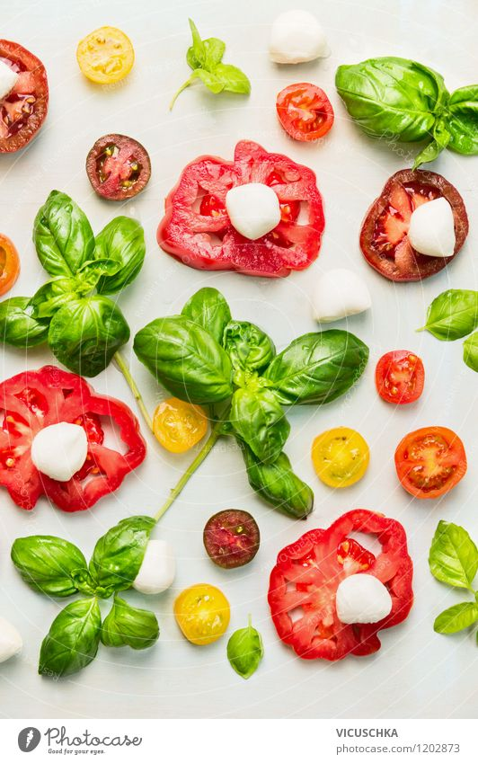 Tomatoes, Mozzarella and Basil Food Cheese Vegetable Lettuce Salad Herbs and spices Nutrition Lunch Organic produce Vegetarian diet Diet Italian Food Style