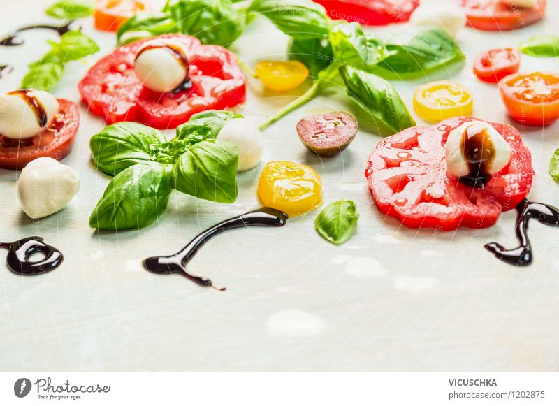 Appetite for summer: tomatoes and mozzarella Food Vegetable Herbs and spices Cooking oil Nutrition Lunch Organic produce Vegetarian diet Diet Italian Food Style