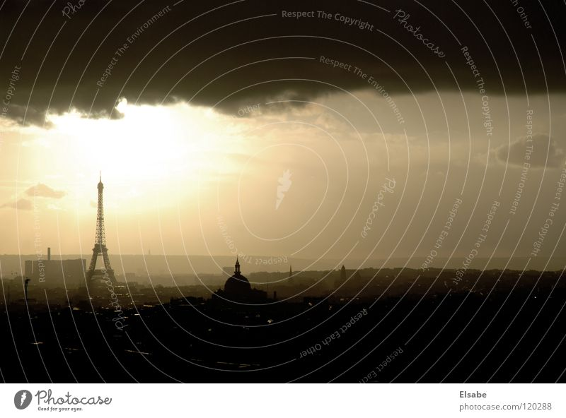 student outlook Paris Eiffel Tower Panorama (View) Clouds Air France Europe Attic Vantage point Sunlight Sunbeam Balcony Window Town Sky Light Landmark Monument