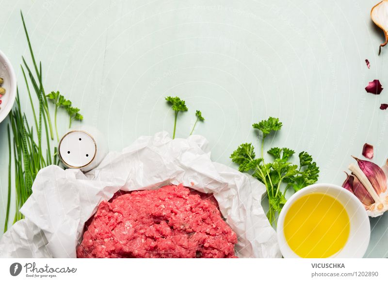 Minced meat with fresh herbs and spices Food Meat Herbs and spices Cooking oil Nutrition Lunch Dinner Organic produce Diet Bowl Style Design Healthy Eating Life