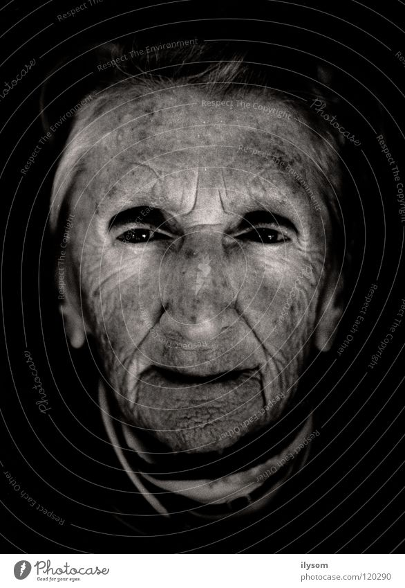 old woman Woman Grandmother Portrait photograph Black & white photo Old Wrinkles Face Eyes sad