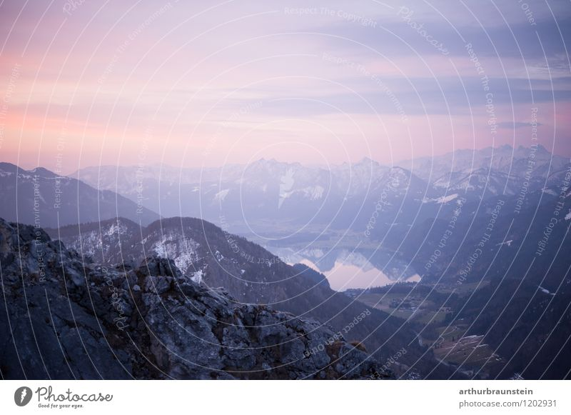 Mountain panorama in the morning with lake view Healthy Leisure and hobbies Vacation & Travel Tourism Trip Adventure Summer Hiking Sports Climbing