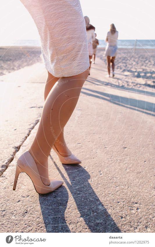 beach heals Lifestyle Elegant Style Joy Harmonious Leisure and hobbies Party Event Feasts & Celebrations Feminine Nature Coast Beach Skirt Footwear High heels
