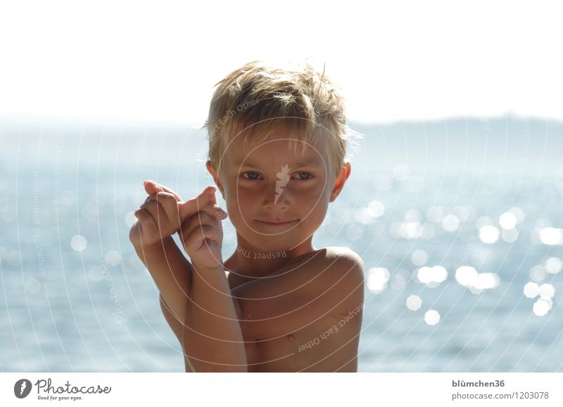 Summer, sun, lake... Human being Masculine Child Boy (child) Infancy Upper body 1 3 - 8 years Beautiful weather Lake Lake Constance Smiling Playing Blonde
